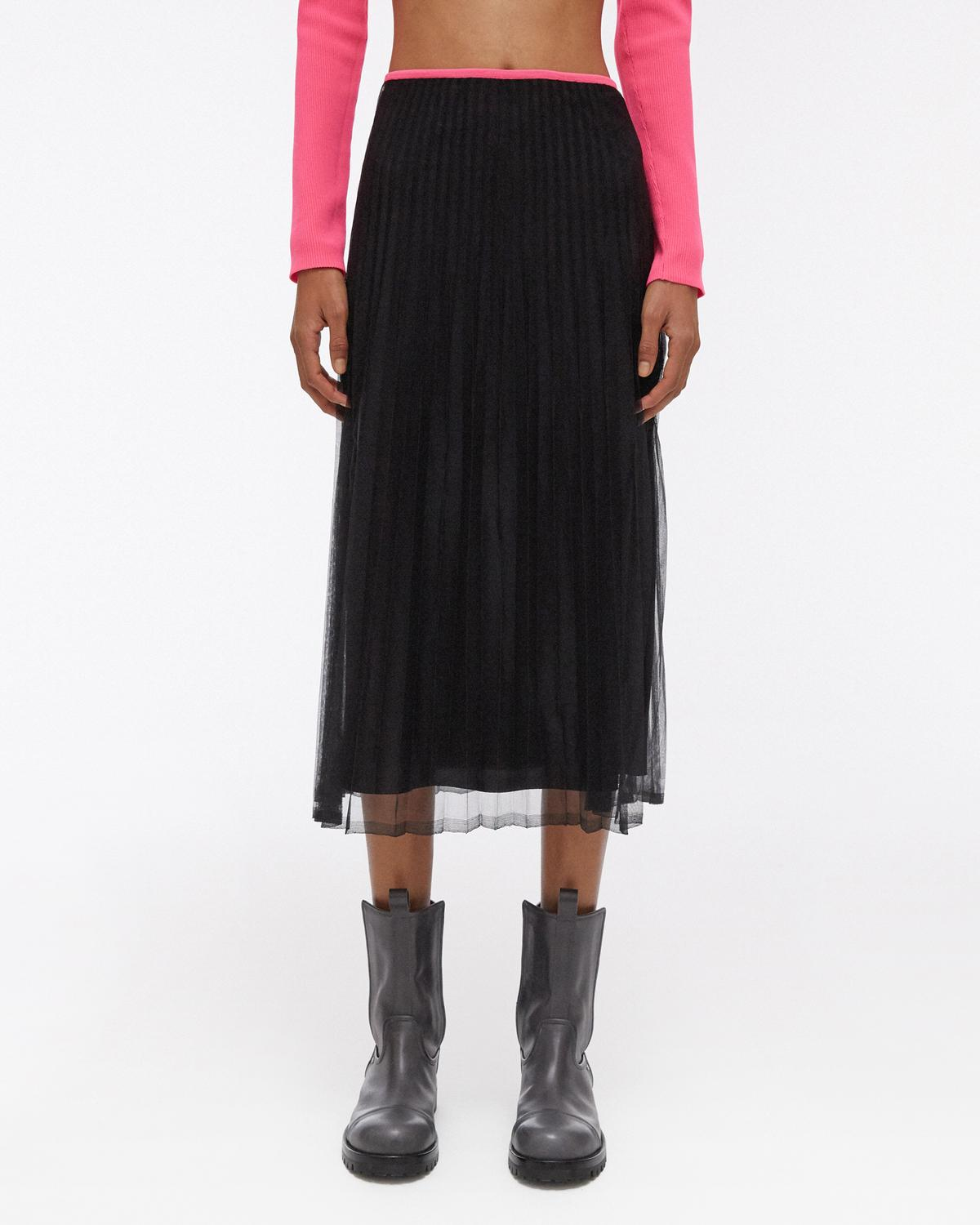 Sheer Pleated Skirt