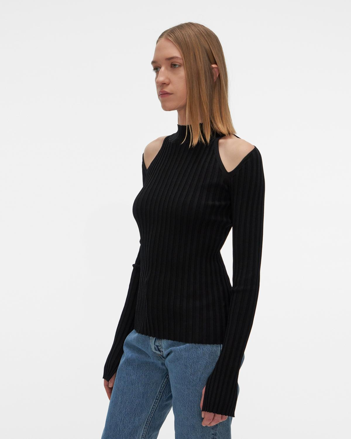 Stretch Viscose Cutout Pullover