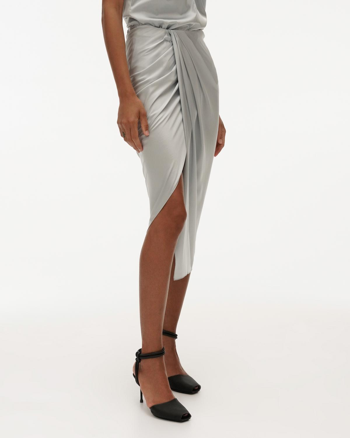 Ruched Silk Skirt