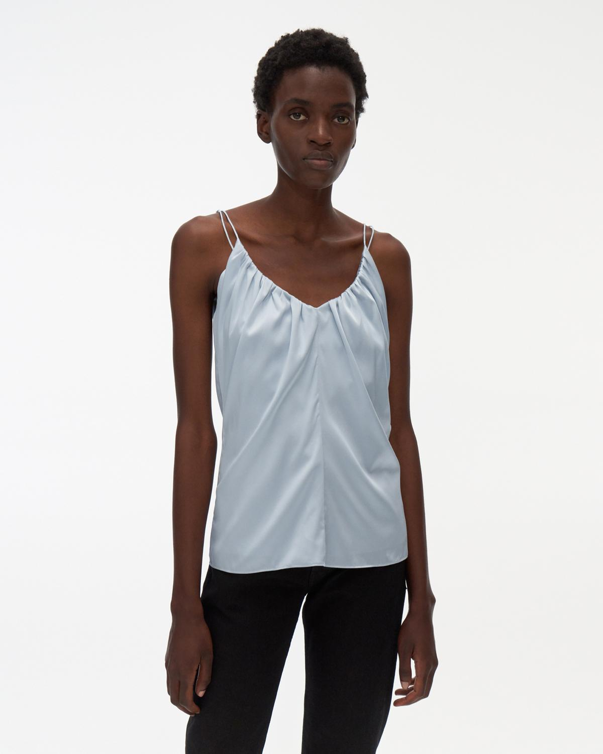 Ruched Silk Slip Top