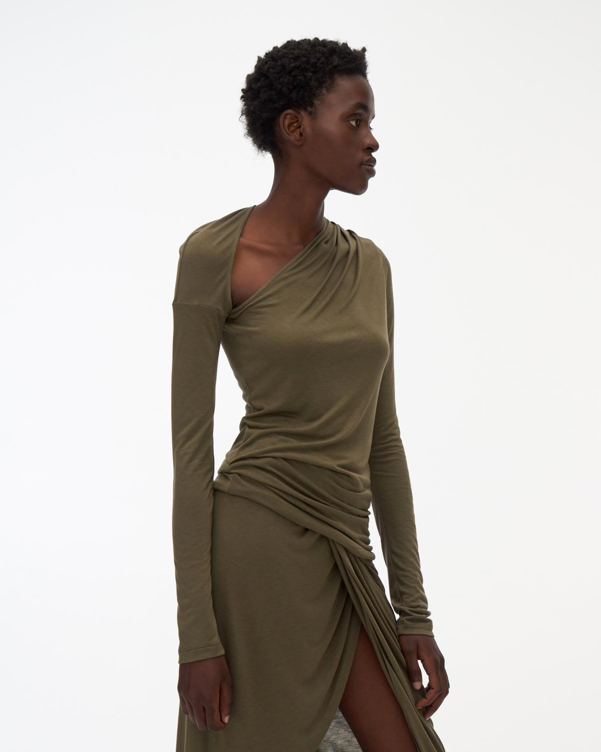 Asymmetric Long-Sleeve Jersey Top