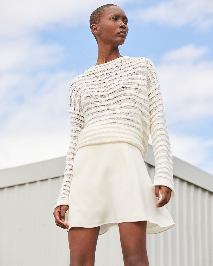 f55f5ceca420 We've updated our favorite sweaters for summer, in textured ivory cotton  and linen. Perfect under a blazer or over a bathing suit.