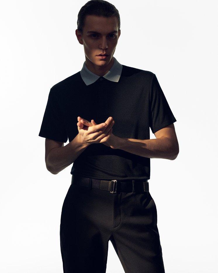 Contrast-Collar Polo in Modal Jersey