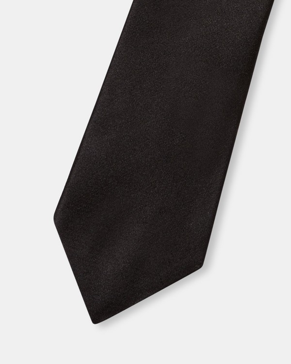 띠어리 맨 실크 넥타이 Theory Roadster Tie in Solid Silk,BLACK
