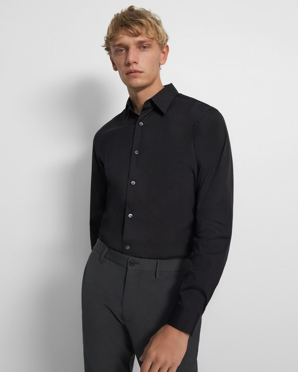 띠어리 맨 셔츠 Theory Sylvain Shirt in Good Cotton,BLACK