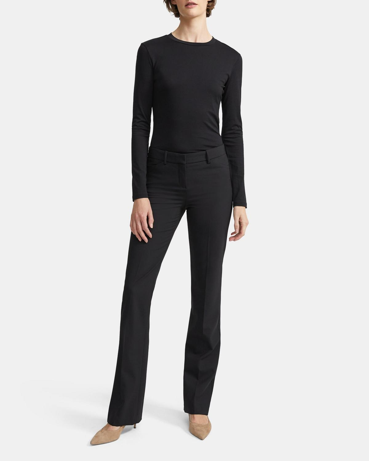 Stretch Wool Relaxed Straight Trouser