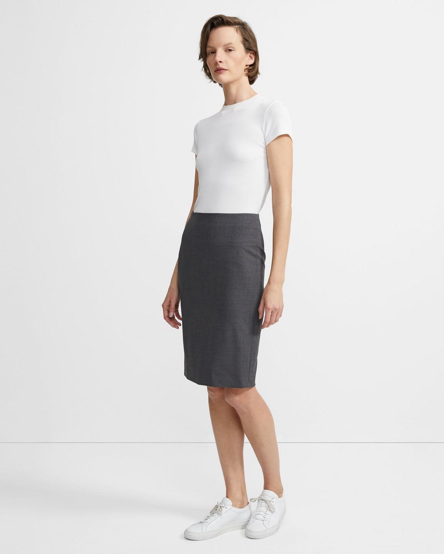 a1e940048d Theory Stretch Wool Pencil Skirt | Theory.com