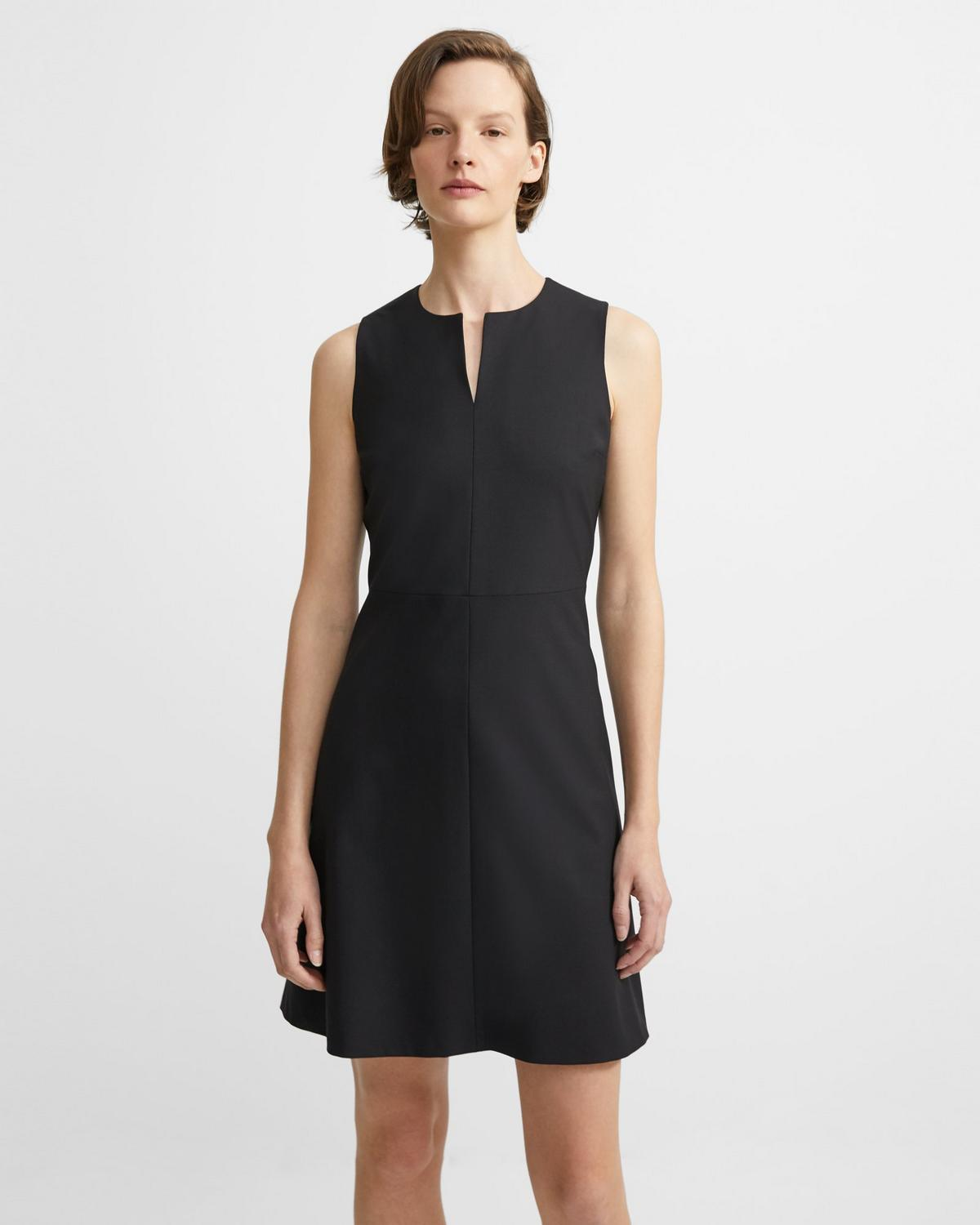 Italian Stretch Wool Split Front Dress