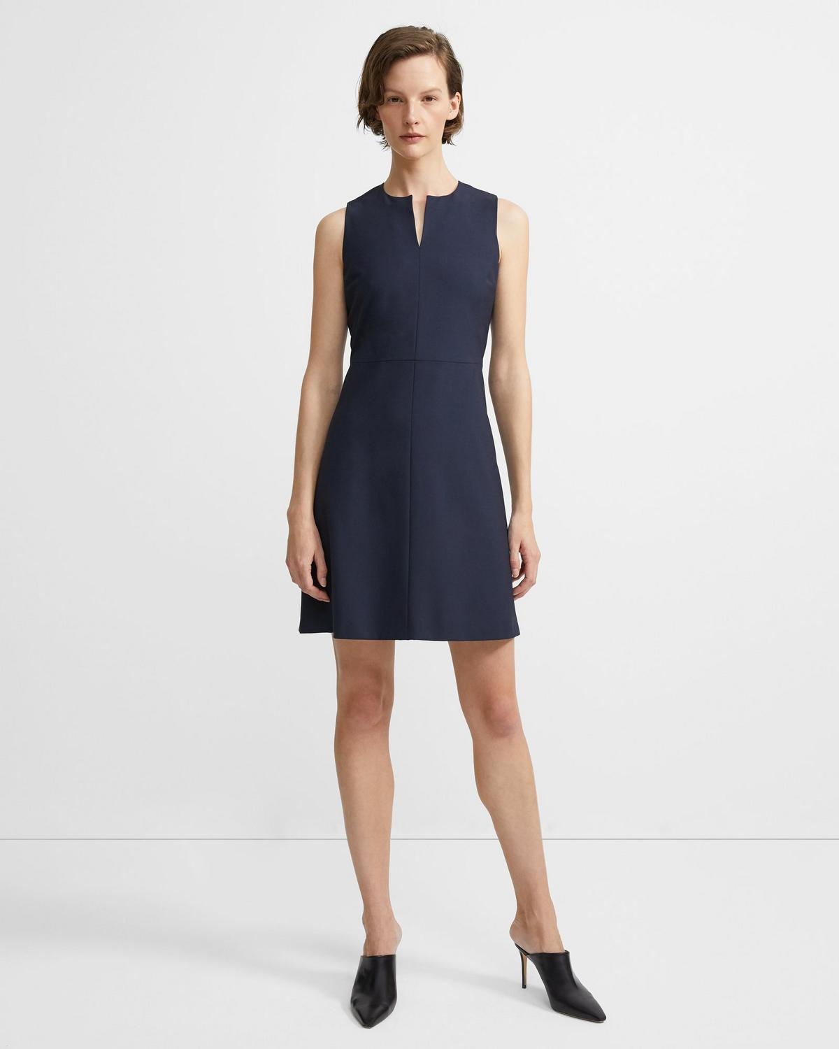 Split Front Dress in Stretch Wool