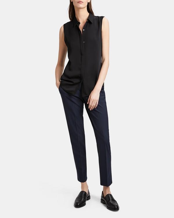 띠어리 실크 민소매 셔츠 Theory Silk Sleeveless Shirt,BLACK