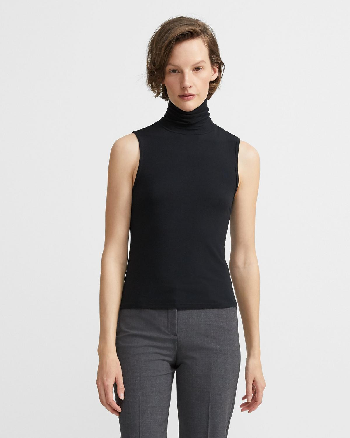 Sleeveless Rib Turtleneck Top