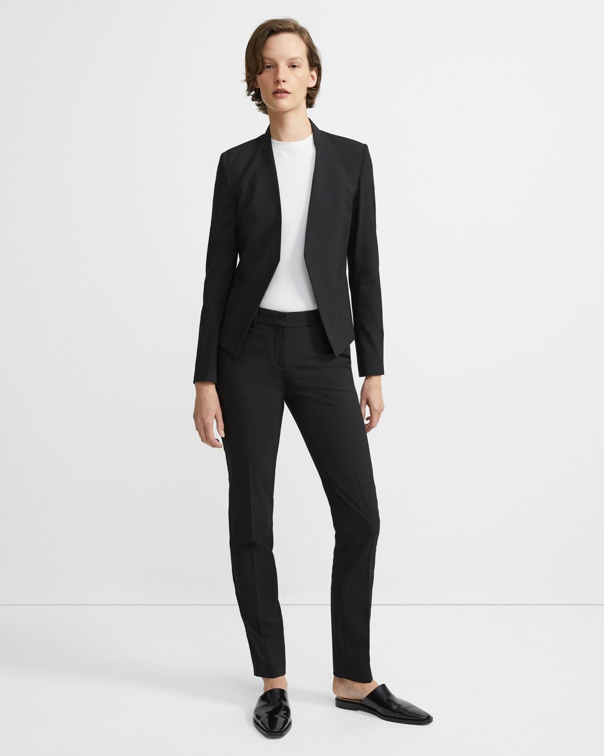 Stretch Wool Open Blazer