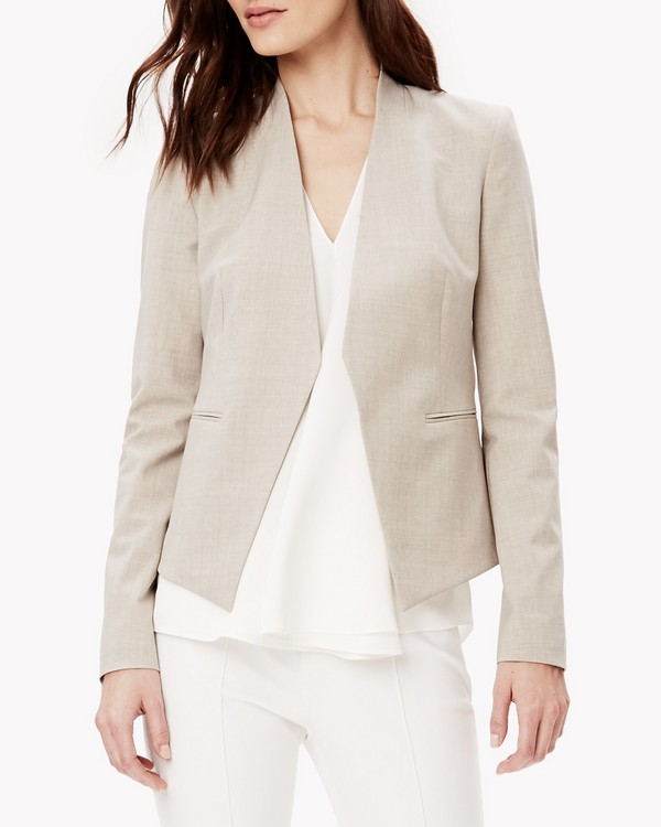Italian Stretch Wool Open Jacket