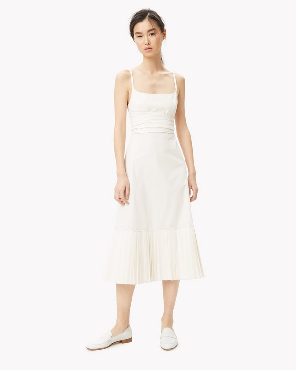 Cotton Poplin Pleated Hem Dress