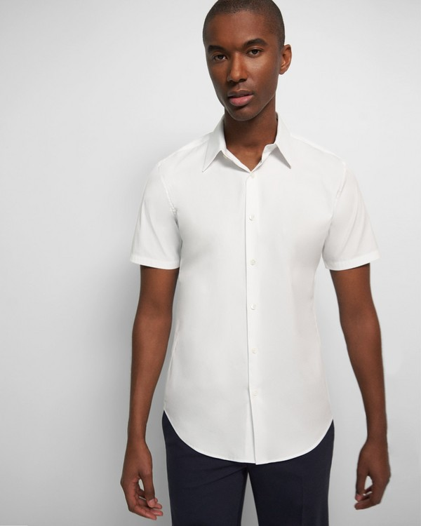 띠어리 맨 반팔 셔츠 Theory Sylvain Short-Sleeve Shirt in Good Cotton,WHITE