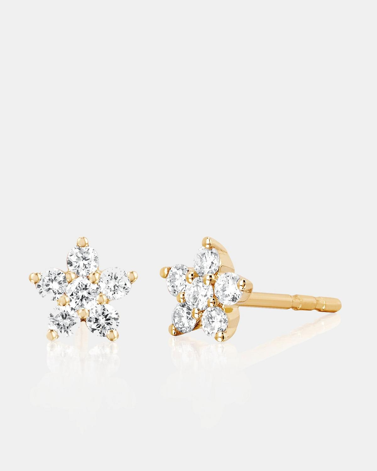EF Collection Diamond Flower Stud Earrings