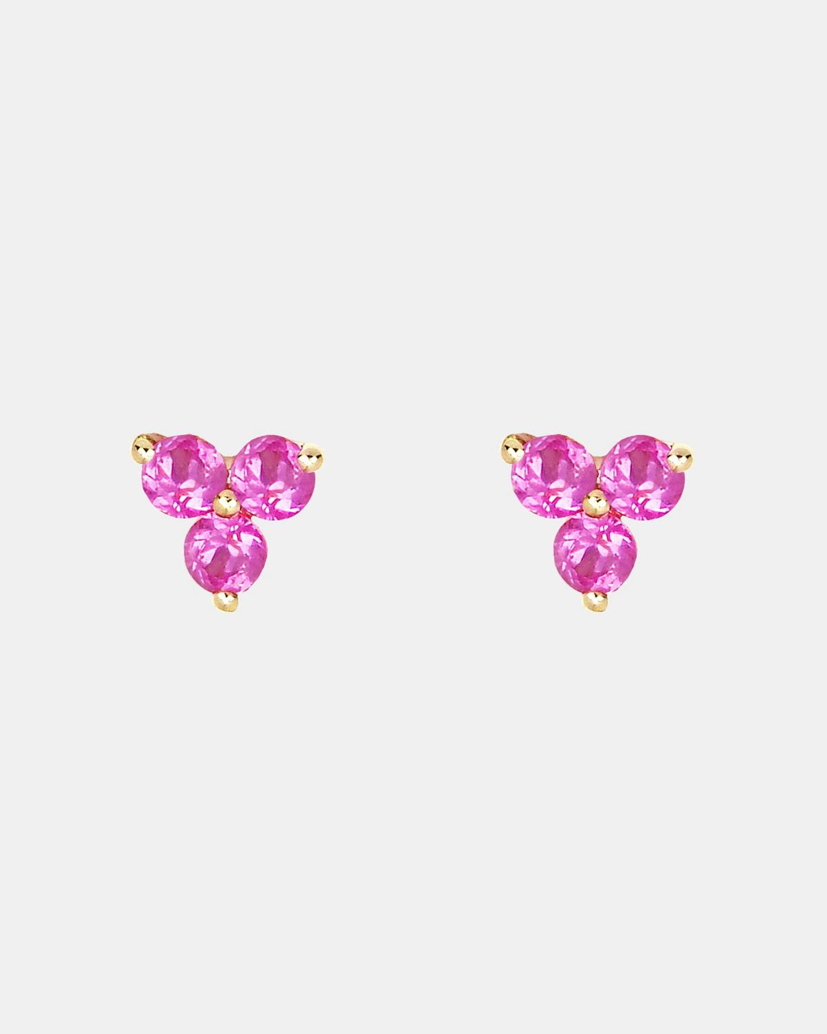 EF Collection Pink Sapphire Trio Stud Earring