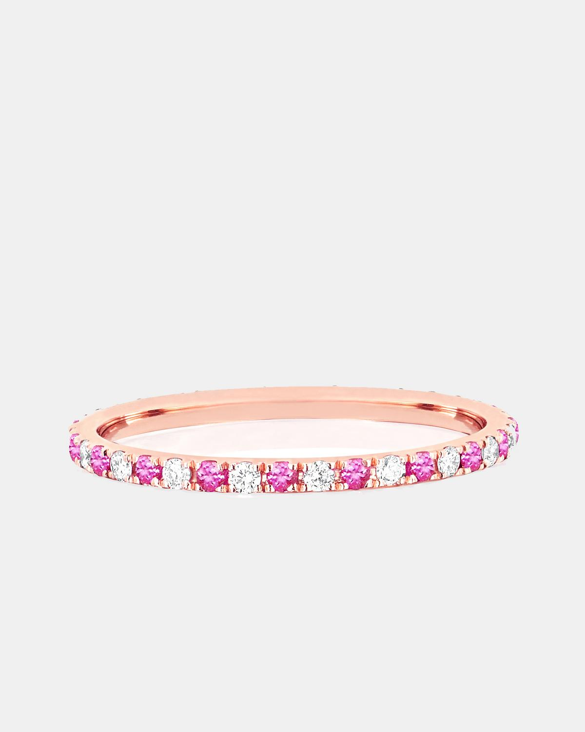 EF Collection Diamond and Pink Sapphire Dot Eternity Band Ring