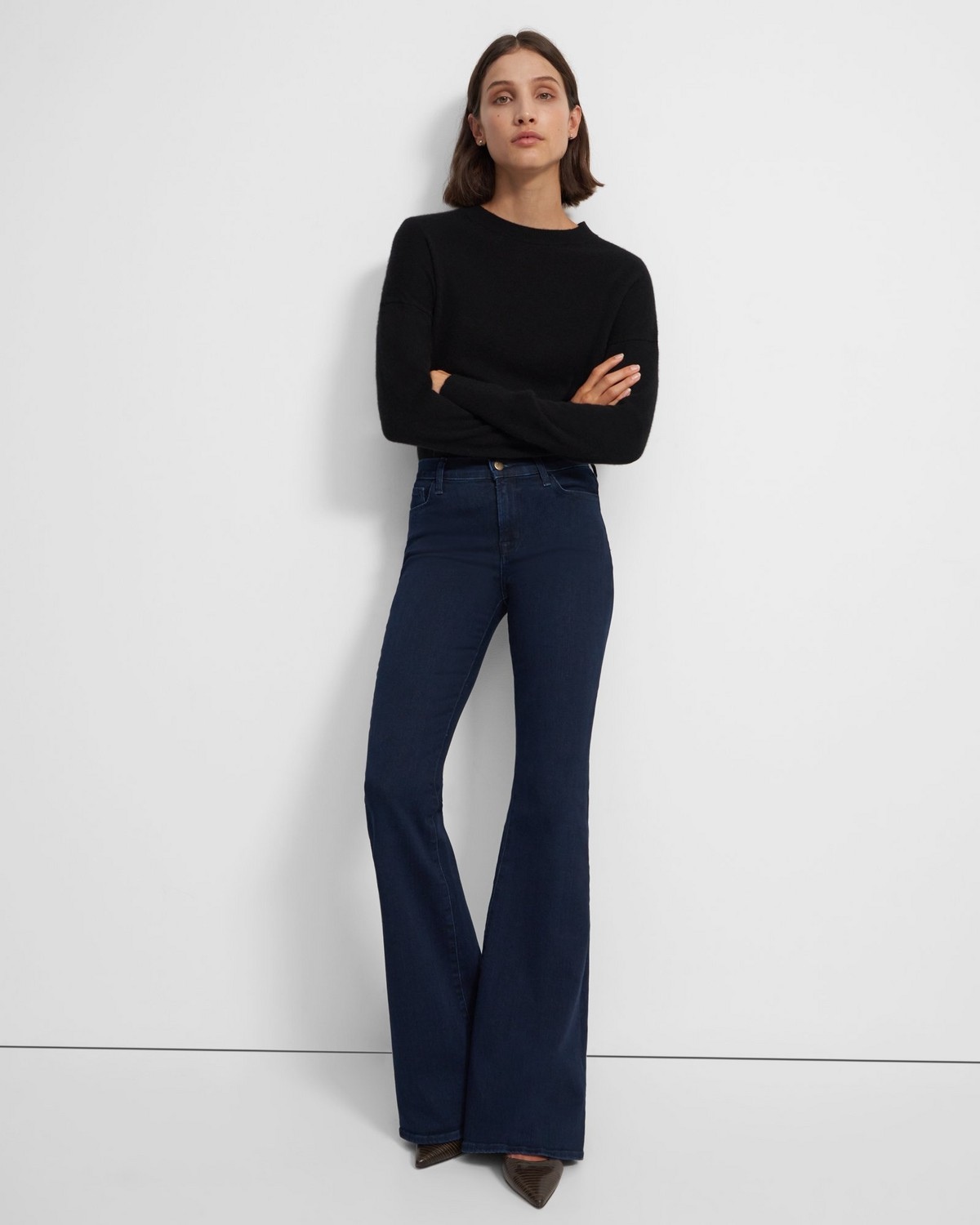 띠어리 Theory J Brand Valentina High-Rise Flared Jean in Stretch Denim,DASH