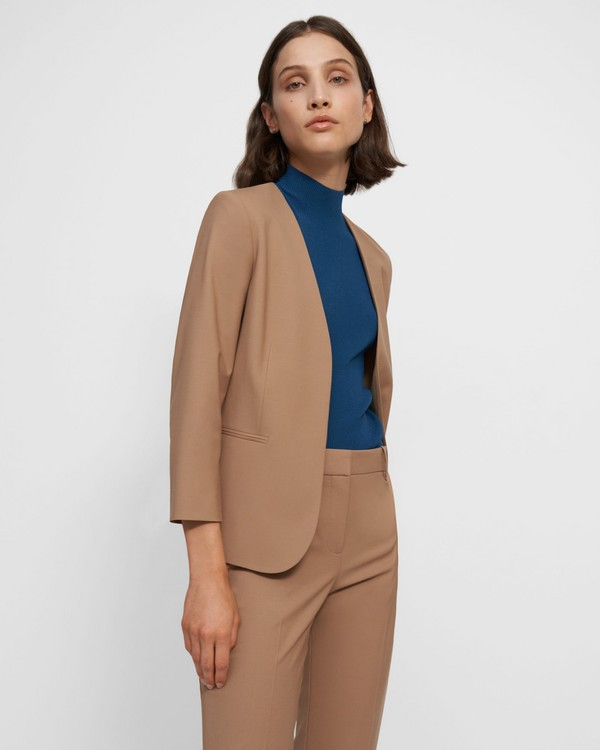 띠어리 Theory Lindrayia Blazer in Good Wool,CAMEL