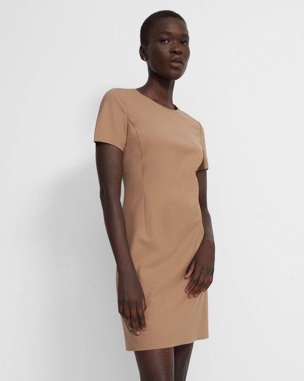 띠어리 Theory Jatinn Dress in Good Wool,CAMEL