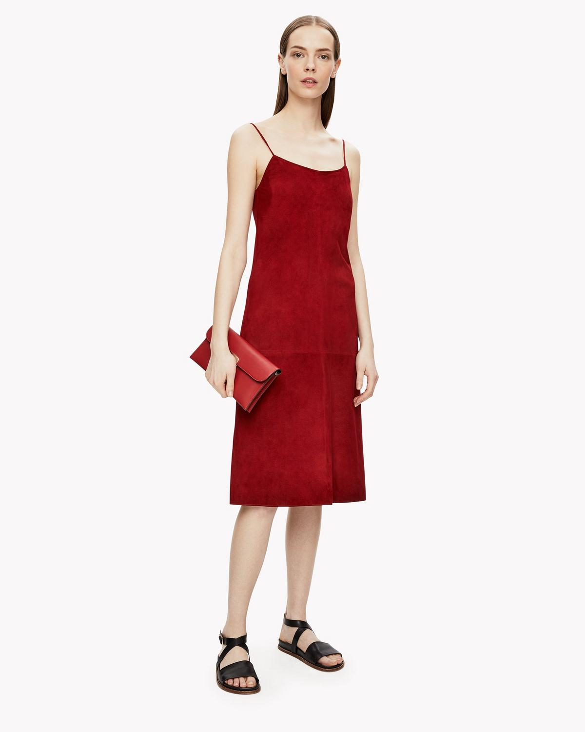99e9869946b Theory Telson S Metises Suede Midi Dress, Red In Claret | ModeSens