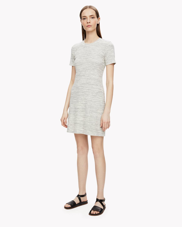 Cherry B3 Stirling Rib-Knit Shirt Dress in Melange Grey from Theory