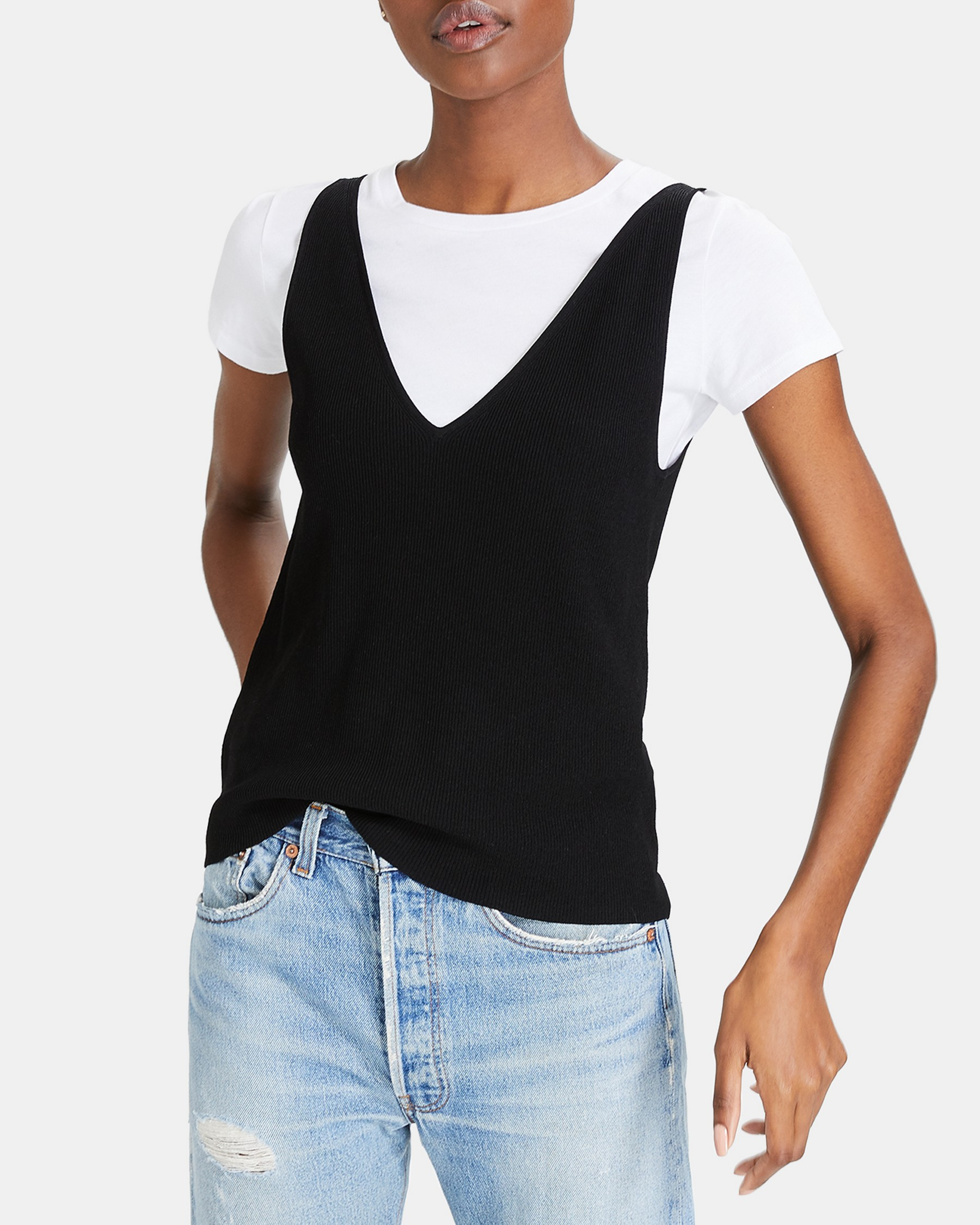 Theory Wooster Crepe Knit Double V Tank