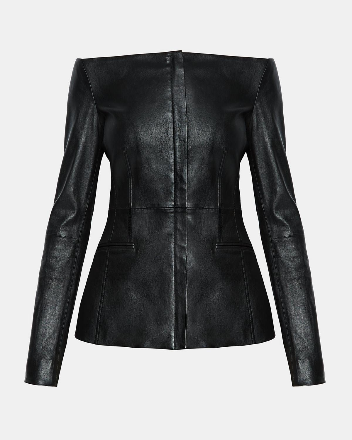 Off The Shoulder Leather Jacket Theory