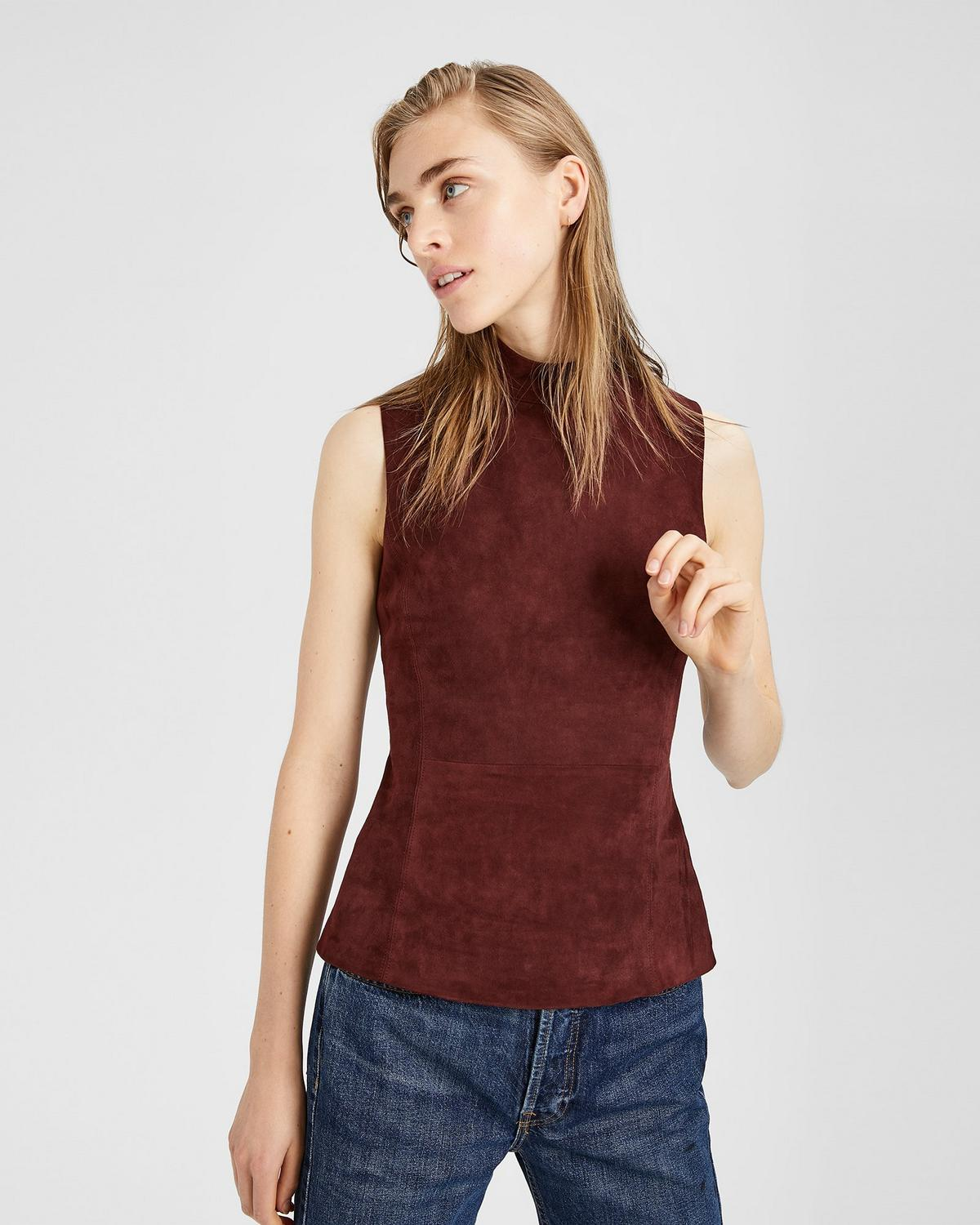 Cost Cheap Theory Sleeveless Suede Top Discount 2018 New yvXQrjpa