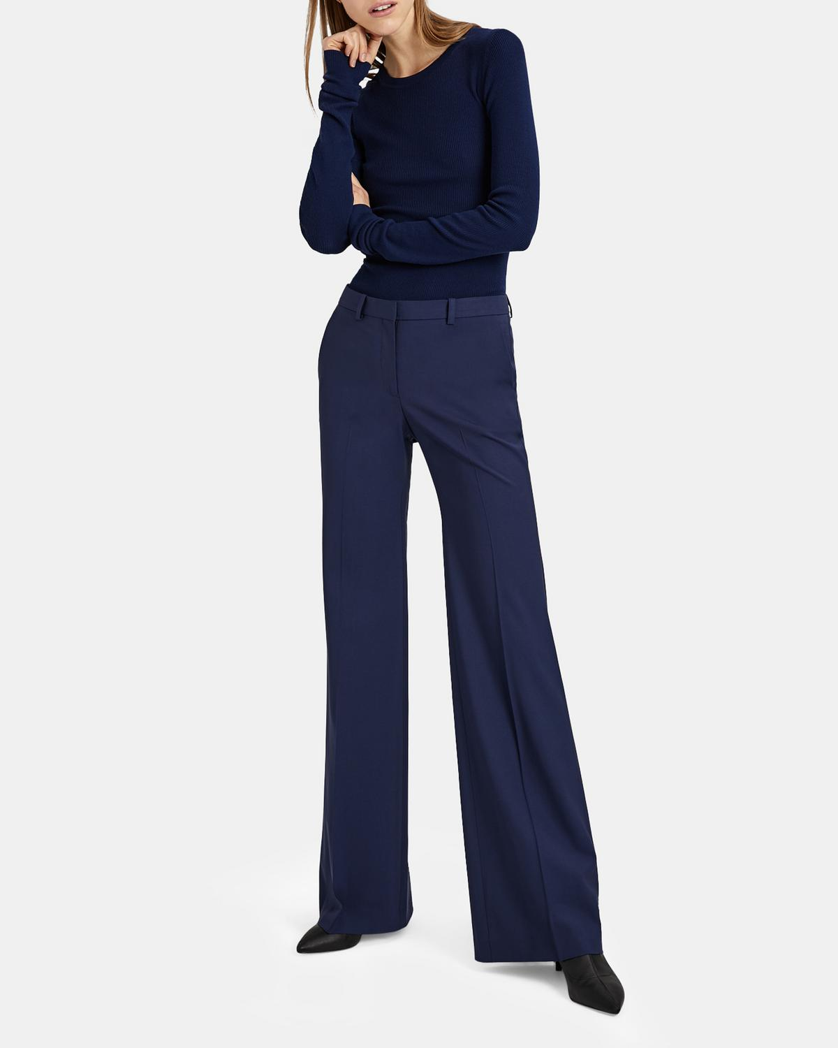 Demitria High-Rise Flared Stretch-Wool Trousers in Sea Blue from Theory