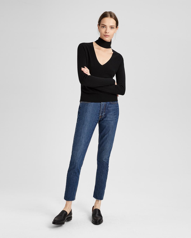 Silk Cashmere Tie V-Neck Pullover, Black
