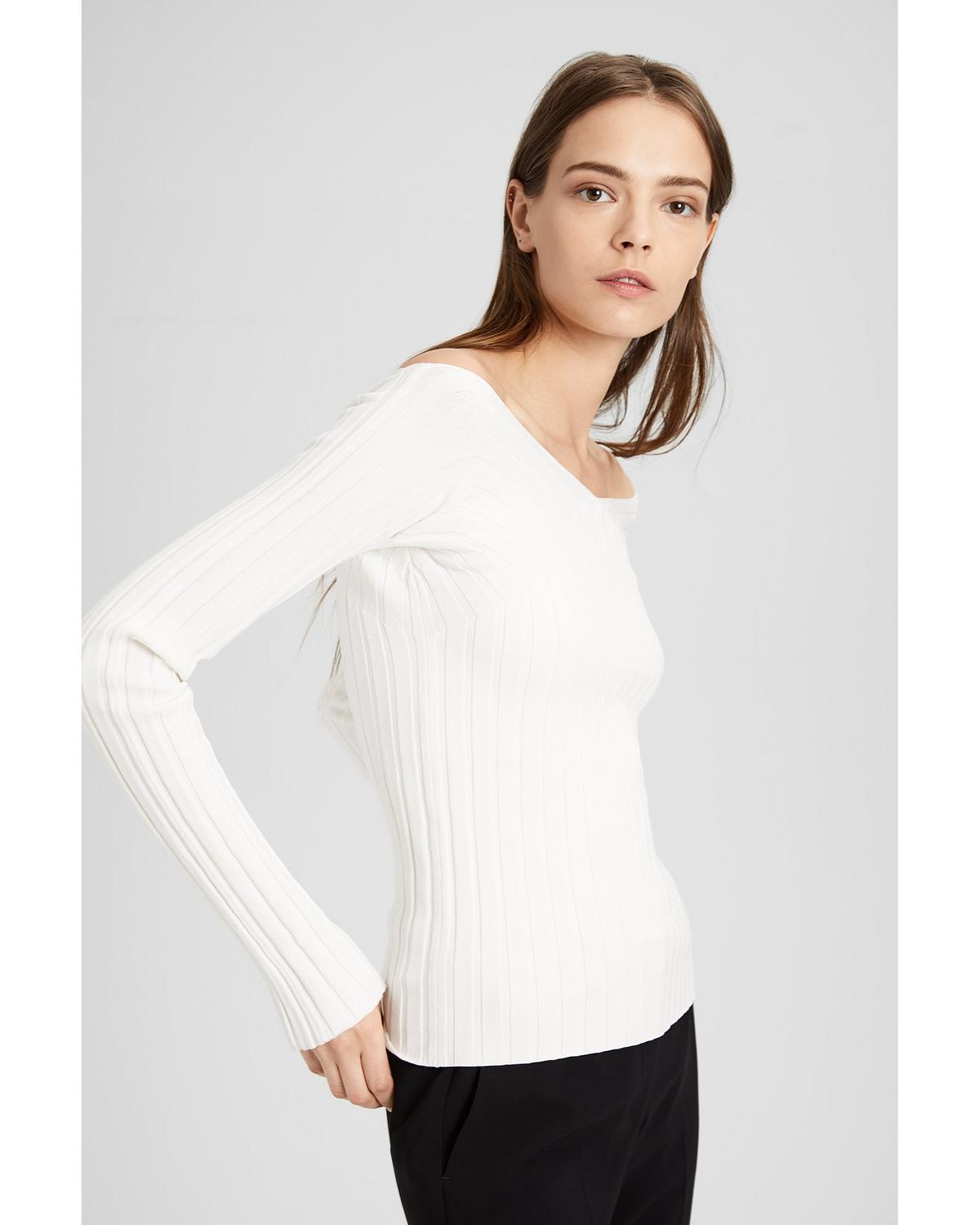 05c835bca9 Wide V-Neck Ribbed Pullover   Theory