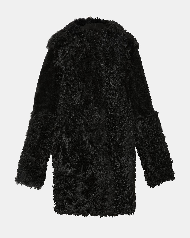 Black shearling jacket sale