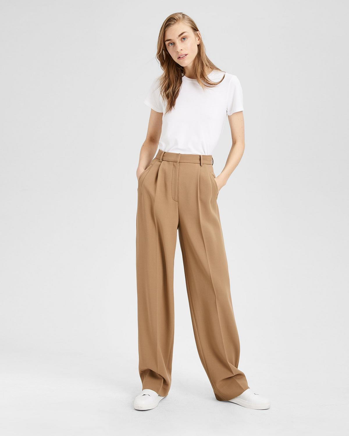 Stretch Wool Pleated High-Waist Pant
