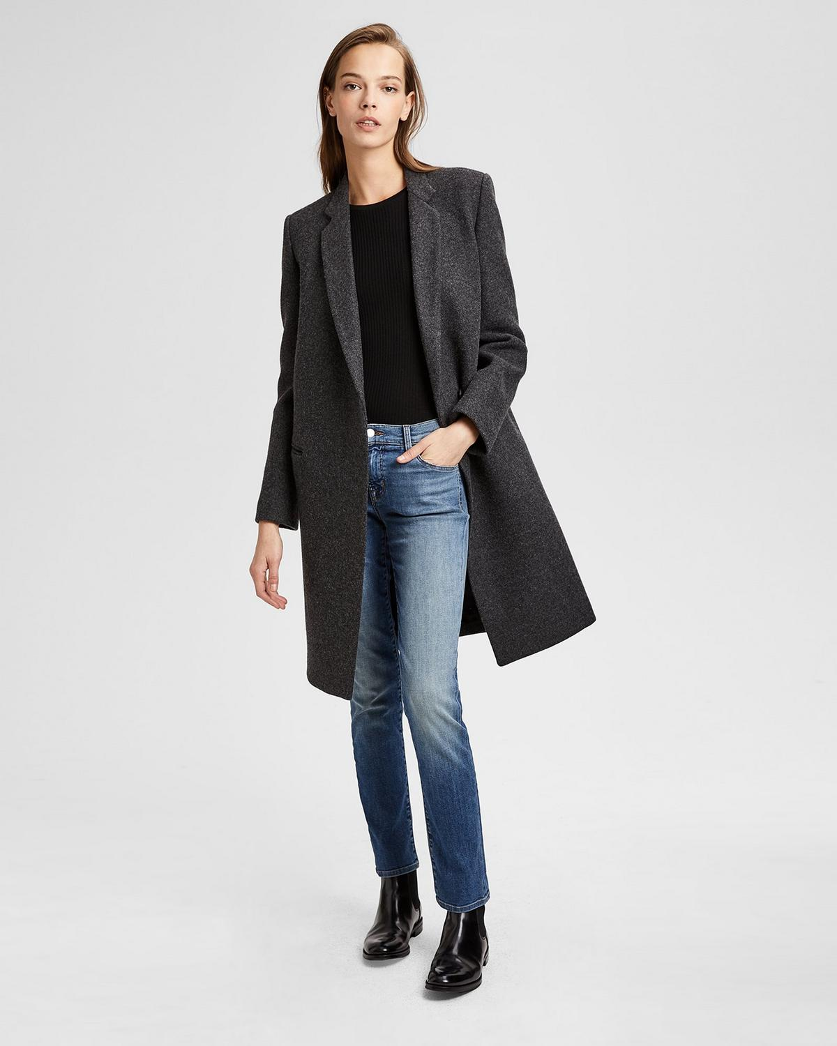 b9b5c4a5950 Theory. Wool Twill Essential Coat 0 - click to view larger image