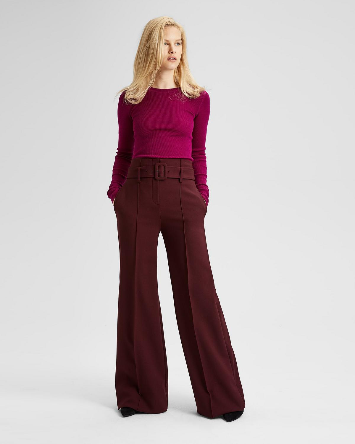 Stretch Wool Belted High-Waist Pant in Dark Currant from Theory