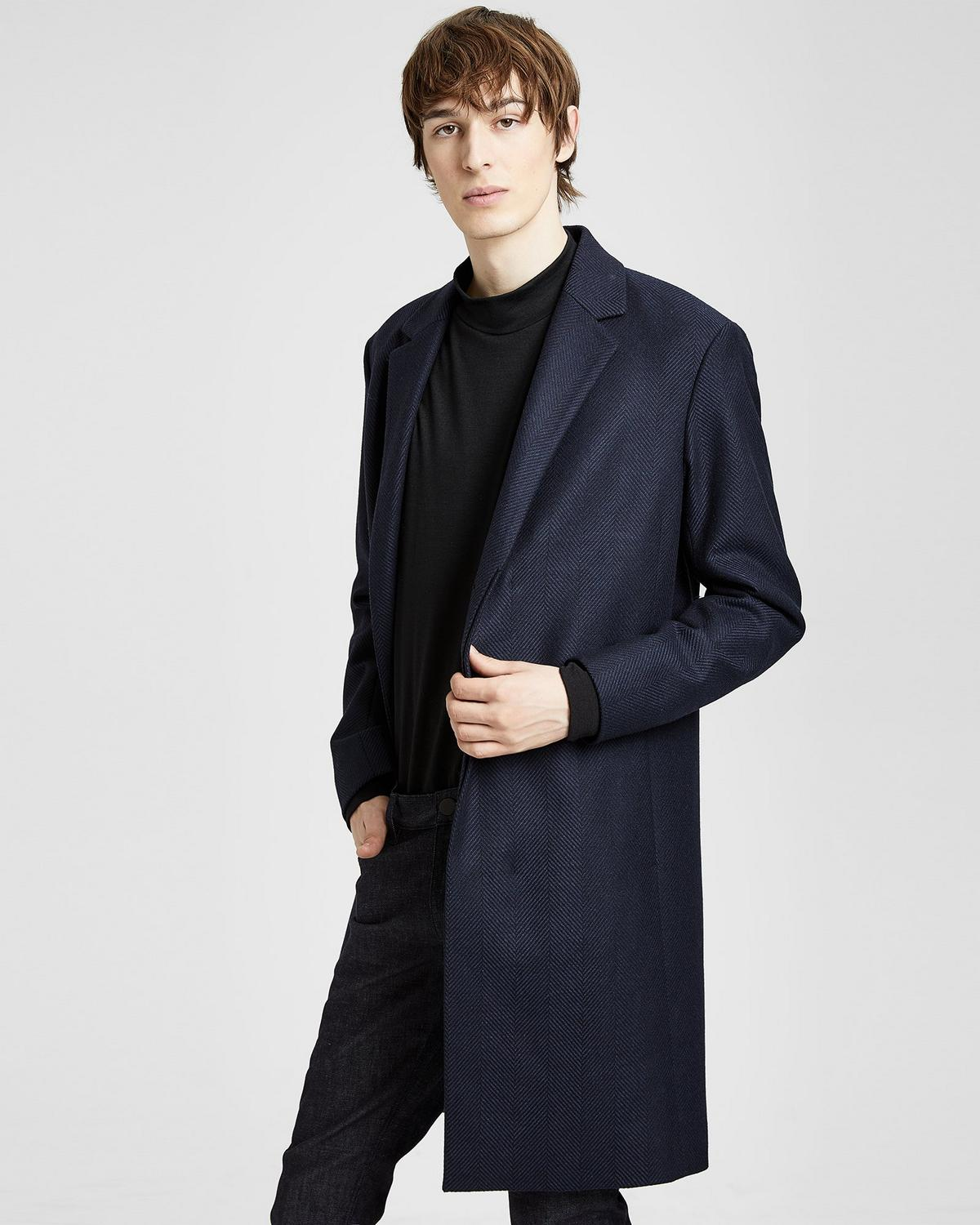 Wool Herringbone Tailored Top Coat