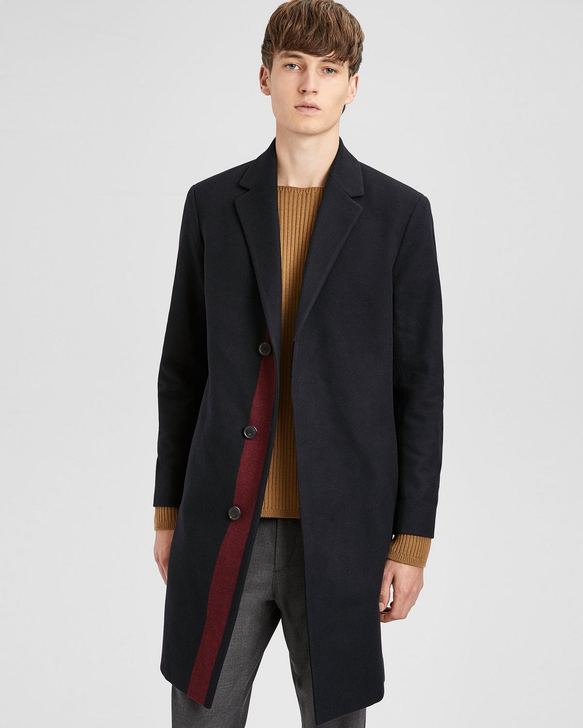 Theory  WOOL STRIPED TAILORED TOP COAT