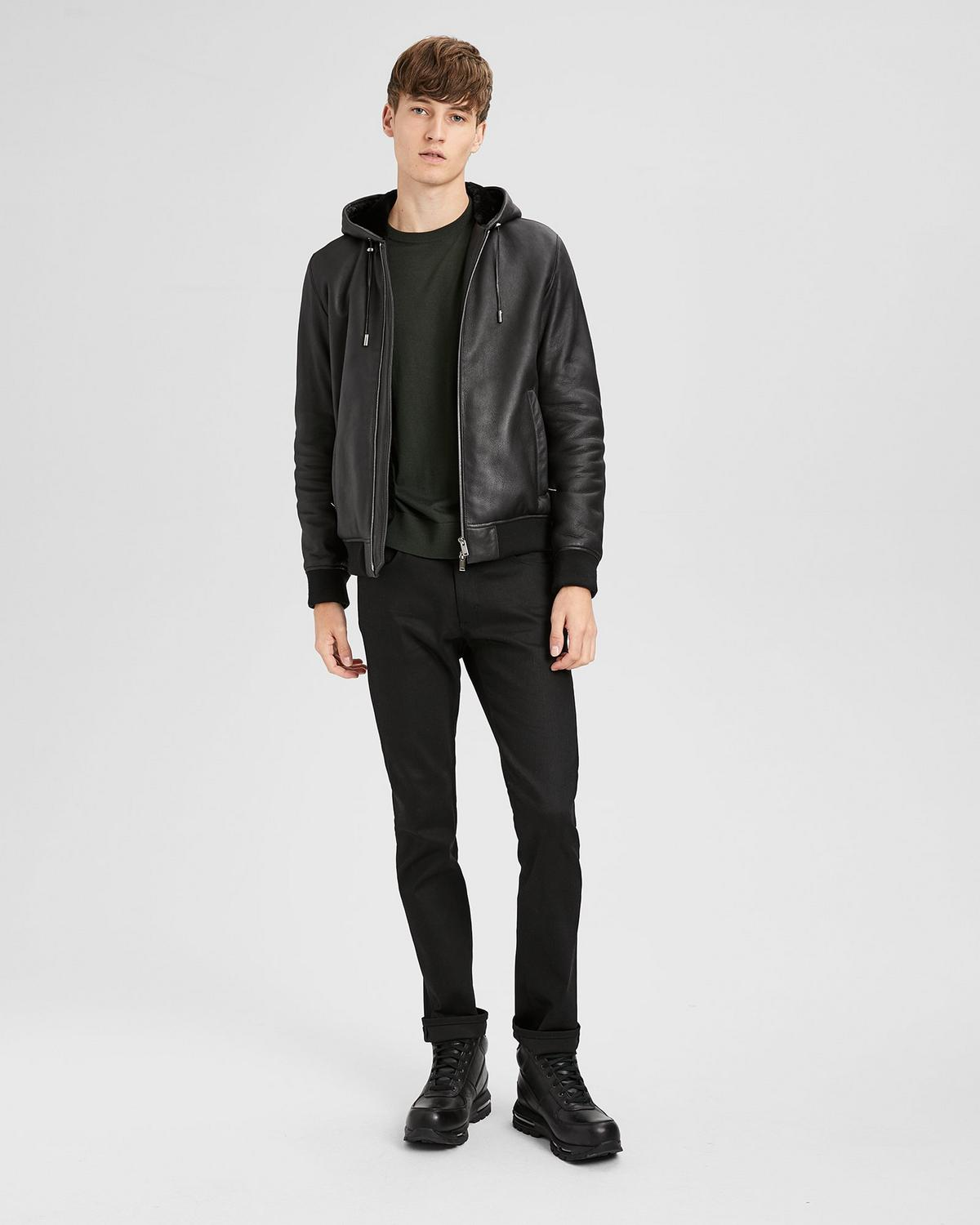 Hooded Zip Shearling Jacket