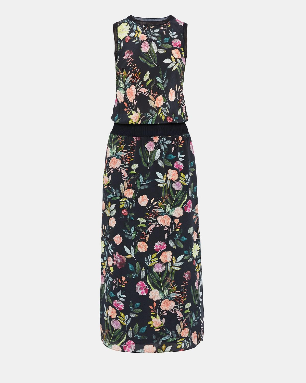 Silk Combo Floral Dress Theory
