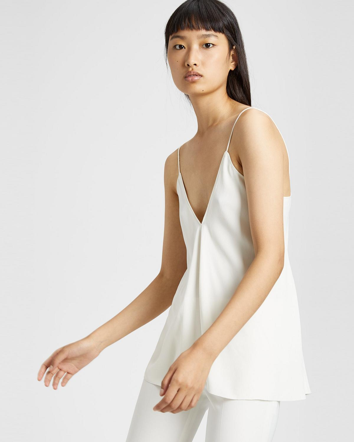 Satin Crepe Draped Tank