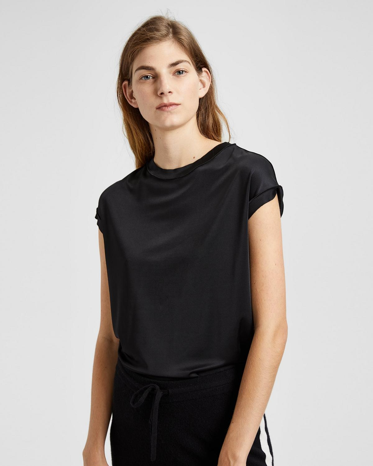 Stretch Knit Raw-Edge Tee