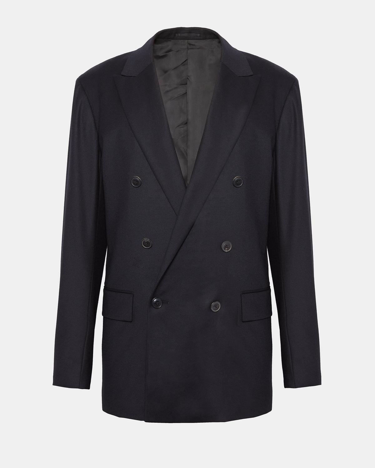 Tailored Flannel Double-Breasted Blazer