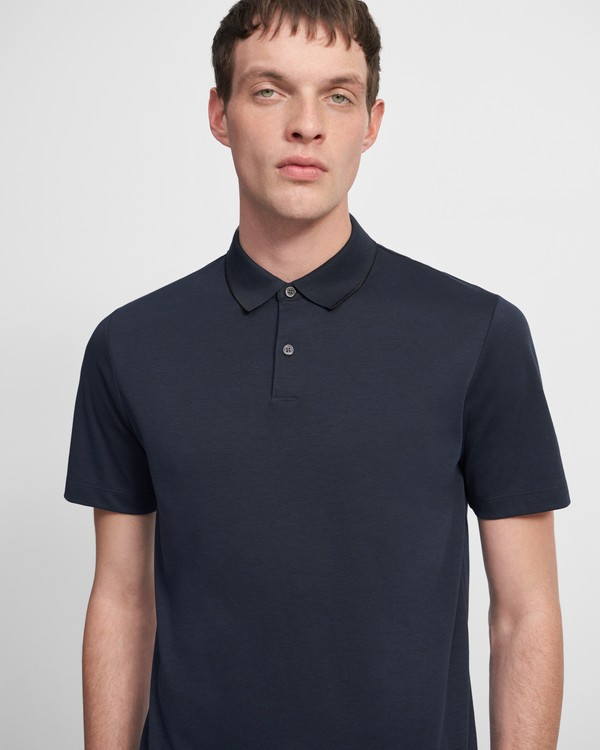 띠어리 맨 폴로 셔츠 Theory Standard Polo Shirt in Pique Cotton,ECLIPSE/BLACK