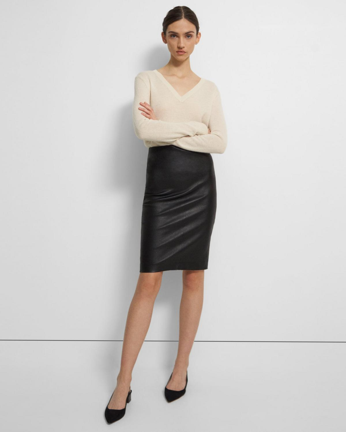 Leather Skinny Pencil Skirt