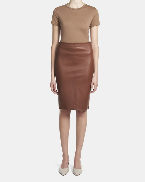 띠어리 스커트 Theory Pencil Skirt in Leather,DARK COGNAC