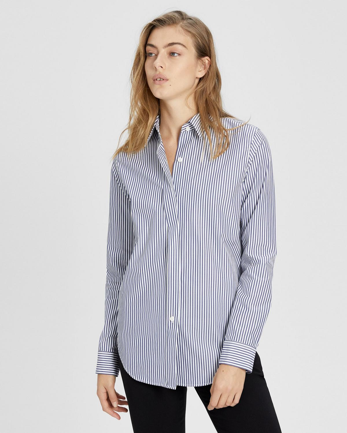 47387c53 Striped Essential Button-Down Shirt | Theory
