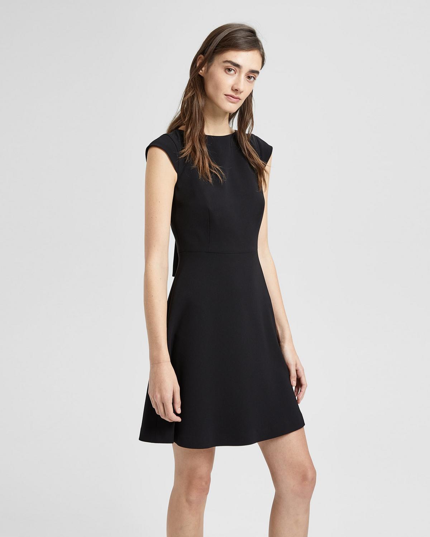 Crepe Cap-Sleeve Shift Dress