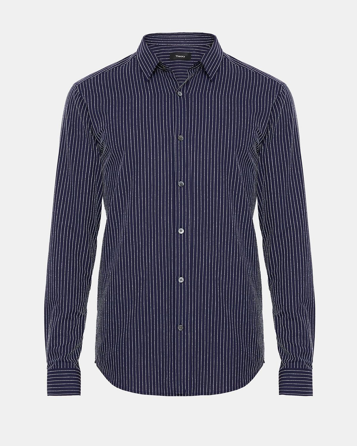 Preferred Chenille Pinstripe Standard-Fit Shirt | Theory XL38